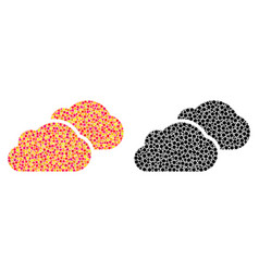 Dotted clouds mosaic icons vector