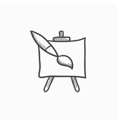 Easel and paint brush sketch icon vector image