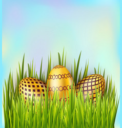 easter decorated golden eggs on sky background vector image