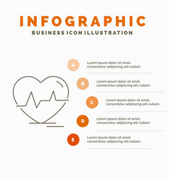 ecg heart heartbeat pulse beat infographics vector image