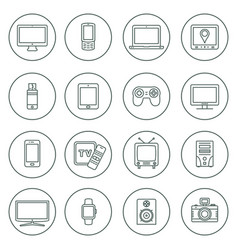 electronic devices outline icons technology vector image