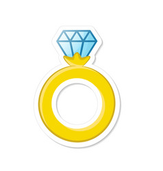 engagement gold ring with a diamond decoration vector image