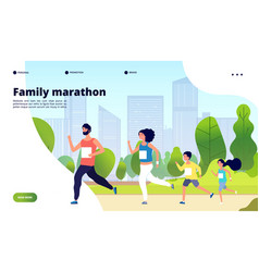 family marathon dad mom and kids running vector image