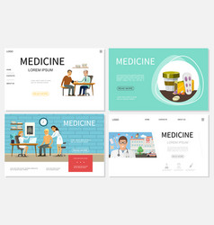 flat healthcare websites set vector image