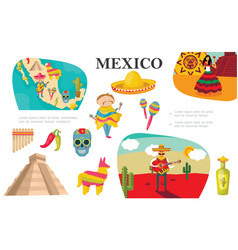flat mexican elements composition vector image