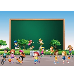 Frame design with many children play in park vector image