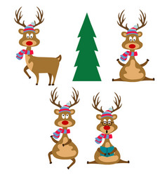 funny flat design reindeers dressed for christmas vector image