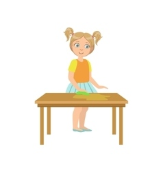 Girl cleaning the wooden table vector