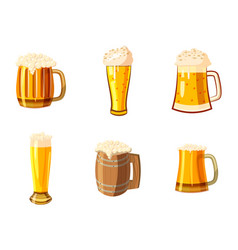 glass of beer icon set cartoon style vector image