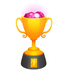 gold cup trophy award with diamonds and base vector image