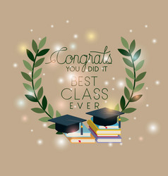 graduation card with hat and pile books vector image
