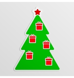 Green fir with hanging red gifts vector image