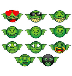 Gremlin emoticon set vector image