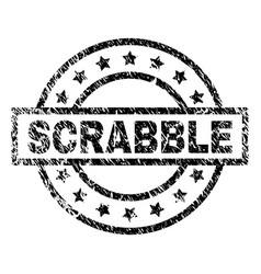 Grunge textured scrabble stamp seal vector