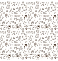 Hand drawn sport seamless pattern Healthy vector