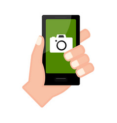 Hand holding a smartphone with a camera app vector