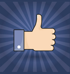 hand thumb up icon flat colorful sign vector image