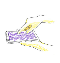 Hands typing phone smartphone texting via social vector