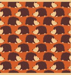 hedgehog seamless pattern cute autumn vector image