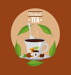 herbal tea teacup and spoon with grains on dish vector image