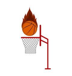 isolated basketball ball on a net vector image