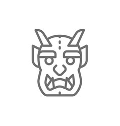 japanese devil mask line icon vector image