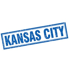 Kansas City blue square grunge stamp on white vector