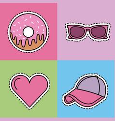 kawaii set icons fantasy decoration stickers vector image