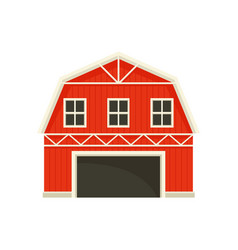 Large red barn with a white frame vector