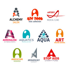 Letter a corporate identity business icons vector