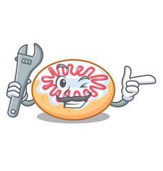 Mechanic jelly donut mascot cartoon vector