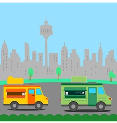 Mobile Truck food store with city background vector