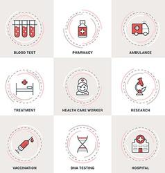 Modern Medicine Line Icons Set Blood Test vector