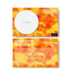 Orange polygon banner business card vector