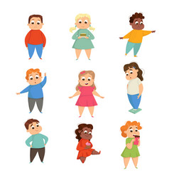 Overweight girls and boys cheerful plump kids vector