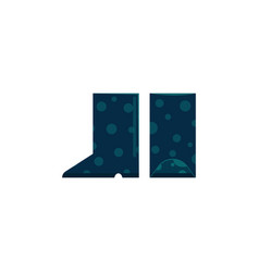 pair of rubber boot in deep blue color for rainy vector image