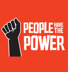 People have power design with raised fist vector