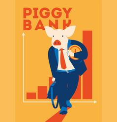 pig businessman with coin metaphor piggy bank vector image