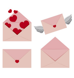 Pink envelopes with hearts and wings vector