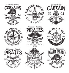 Pirates set of vintage emblems or badges vector