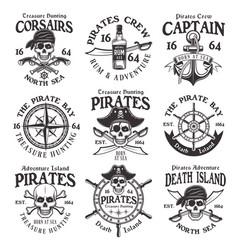 pirates set vintage emblems or badges vector image