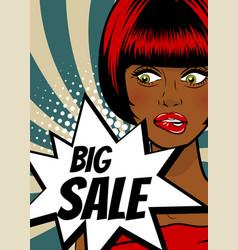 pop art woman big sale banner speech bubble vector image