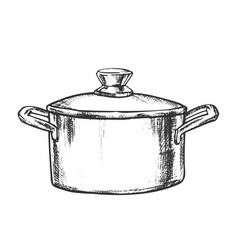 Pot stainless cooking kitchenware vintage vector