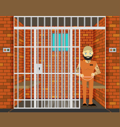 Prisoner flat of prison cell vector