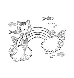 purrmaid with clouds and rainbow undersea vector image