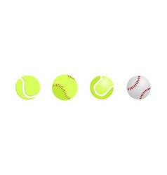 realistic tennis and baseball ball close up vector image