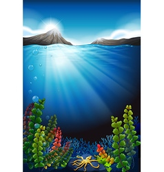 Scene with underwater and mountains vector image