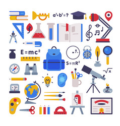 school supplies collection learning equipment vector image