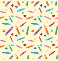 Seamless background with crayons and paints vector