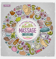 Set of massage cartoon doodle objects vector